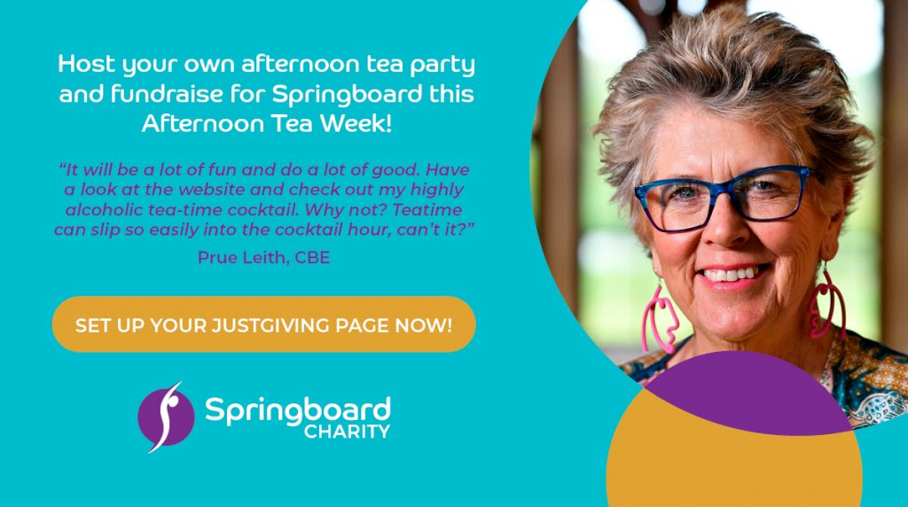 Host your own afternoon tea party and fundraise for Springboard this Afternoon Tea Week!