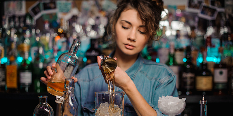 Barmaid Pouring Drink